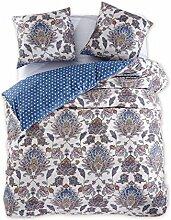DecoKing 97717 200x220 cm Bettwäsche mit 2 Kissenbezügen 80x80 Renforcé Bettwäscheset Bettbezüge 100% Baumwolle Bettwäschegarnituren Reißverschluss Diamond Collection King Edward beige blau dunkelblau rot gelb