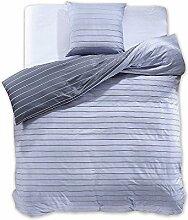 DecoKing 97755 135x200 cm Bettwäsche mit 1 Kissenbezug 80x80 Renforcé Bettwäscheset Bettbezüge 100% Baumwolle Bettwäschegarnituren Reißverschluss Diamond Collection Cabin hellblau blau dunkelblau