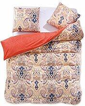 DecoKing 97939 200x200 cm Bettwäsche mit 2 Kissenbezügen 80x80 Renforcé Bettbezüge Bettbezug Bettwäsche-Set 100% Baumwolle Öko-Tex Standard 100 60 Grad waschbar Diamond Medieval orange creme beige gold schwarz dunkelblau