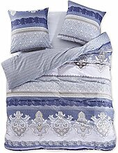 DecoKing 97991 200x220 cm Bettwäsche mit 2 Kissenbezügen 80x80 Renforcé Bettwäscheset Bettbezüge 100% Baumwolle Bettwäschegarnituren Reißverschluss Diamond Collection Marginalia beige blau dunkelblau graphit grau anthrazit creme ecru