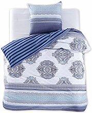 DecoKing 98264 155x220 cm Bettwäsche mit 1 Kissenbezug 80x80 2 Renforcé Bettwäscheset Bettbezüge 100% Baumwolle Bettwäschegarnituren Reißverschluss Diamond Collection Brooke blau dunkelblau hellblau weiß