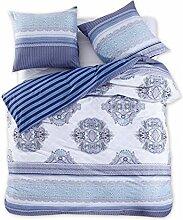 DecoKing 98271 200x200 cm Bettwäsche mit 2 Kissenbezügen 80x80 Renforcé Bettwäscheset Bettbezüge 100% Baumwolle Bettwäschegarnituren Reißverschluss Diamond Collection Brooke blau dunkelblau hellblau weiß