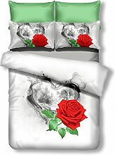 DecoKing Premium 00724 Bettwäsche 155x220 cm mit 1 Kissenbezug 80x80 weiß 3D Microfaser Bettbezug Bettwäschegarnitur Rosa Rose Blumen Blumenmuster white rot red grün green schwarz black Sorrento