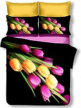 DecoKing Premium 00793 Bettwäsche 135x200 cm mit 1 Kissenbezug 80x80 schwarz 3D Microfaser Bettbezug Bettwäschegarnitur Blumen Blumenmuster black weiß white gelb yellow violett violet grün green Quentin