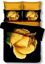 DecoKing Premium 00847 Bettwäsche 200x200 cm mit 2 Kissenbezügen 80x80 schwarz 3D Microfaser Bettbezug Bettwäschegarnitur Blumen Blumenmuster black weiß white gelb yellow Orea