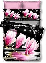 DecoKing Premium 00892 Bettwäsche 200x200 cm mit 2 Kissenbezügen 80x80 schwarz 3D Microfaser Bettbezug Bettwäschegarnitur Blumen Blumenmuster black weiß white rosa amarant pink Luludia