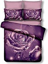 DecoKing Premium 00922 Bettwäsche 200x200 cm mit 2 Kissenbezügen 80x80 lila 3D Microfaser Bettbezug Bettwäschegarnitur Rosa Rose Blumen Blumenmuster violett Pflaume violet lilac plum Meredith