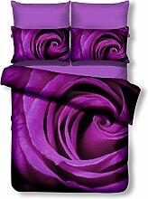 DecoKing Premium 00939 Bettwäsche 155x220 cm mit 1 Kissenbezug 80x80 violett 3D Microfaser Bettbezug Bettwäschegarnitur Rosa Rose Blumen Blumenmuster lila Pflaume violet lilac plum Omorfi