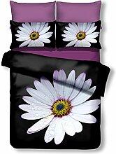 DecoKing Premium 01059 Bettwäsche 135x200 cm mit 1 Kissenbezug 80x80 schwarz 3D Microfaser Bettbezug Bettwäschegarnitur Blumen Blumenmuster black weiß white gelb yellow Daisy