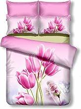 DecoKing Premium 01127 Bettwäsche 200x200 cm mit 2 Kissenbezügen 80x80 amarant 3D Microfaser Bettbezug Bettwäschegarnitur Blumen Blumenmuster rosa pink Sandy