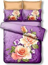 DecoKing Premium 01141 Bettwäsche 200x220 cm mit 2 Kissenbezügen 80x80 lila 3D Microfaser Bettbezug Bettwäschegarnitur Blumen Blumenmuster violett Pflaume violet lilac plum creme ecru rosa pink Candice