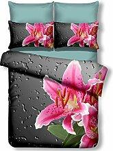DecoKing Premium 01271 Bettwäsche 200x200 cm mit 2 Kissenbezügen 80x80 amarant 3D Microfaser Bettbezug Bettwäschegarnitur Blumen Blumenmuster rosa pink stahl grau anthrazit steel grey Nero