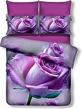 DecoKing Premium 01387 Bettwäsche 155x220 cm mit 1 Kissenbezug 80x80 lila 3D Microfaser Bettbezug Bettwäschegarnitur Rosa Rose Blumen Blumenmuster violett Pflaume violet lilac plum Callie