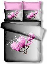 DecoKing Premium 60896 Bettwäsche 155x220 cm mit 1 Kissenbezug 80x80 grau 3D Microfaser Bettbezug Bettwäschegarnitur Blumen Blumenmuster lila rosa pink lilac weiß white anthrazit stahl graphit steel grey Magnolia