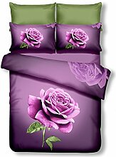 DecoKing Premium 61237 Bettwäsche 200x200 cm mit 2 Kissenbezügen 80x80 violett 3D Microfaser Bettbezug Bettwäschegarnitur Rosa Rose Blumen Blumenmuster lila dunkelviolett lilac violet Lena