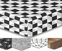 DecoKing Premium 93122 Spannbettlaken 200x220 cm Steg 30 cm schwarz weiß geometrisches Muster Spannbetttuch Microfaser Bettwäschegarnituren black white Hypnosis Collection Mystery 1