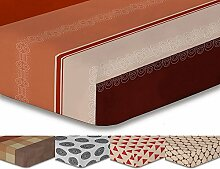 DecoKing Premium 94020 Spannbettlaken 200x200 Steg 30 cm braun Spannbetttuch Microfaser schoko brown chocolate orange creme Hypnosis Geoffrey