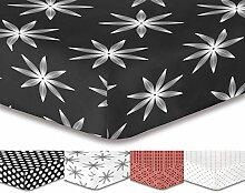 DecoKing Premium 95720 Spannbettlaken 200x220 cm Steg 30 cm grau schwarz weiß mit Blumenmuster Blumen Spannbetttuch Microfaser grey black white Hypnosis Alpin 2