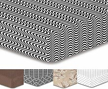 DecoKing Premium 95737 Spannbettlaken 200x220 cm Steg 30 cm schwarz weiß geometrisches Muster Spannbetttuch Microfaser Bettwäschegarnituren black white Hypnosis Collection Deerest 2