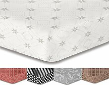 DecoKing Premium 95768 Spannbettlaken 200x220 cm Steg 30 cm grau geometrisches Muster Bettbezüge Microfaser Bettwäschegarnituren  weiß anthrazit graphit stahl white grey antrazit steel Hypnosis Collection Snowy Night 2