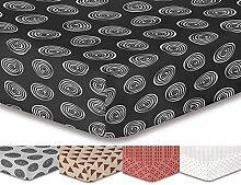 DecoKing Premium 95775 Spannbettlaken 200x220 cm Steg 30 cm grau weiß schwarz Spannbetttuch Microfaser Kreisen Kreis anthrazit graphit grey black white Hypnosis Fossil 2