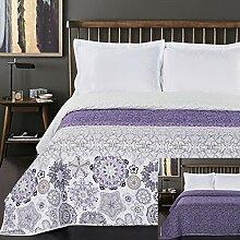 DecoKing Tagesdecke 240 x 260 cm violett weiß