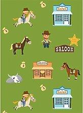 decoloopio 2054Tapete für Kinderzimmer Cowboys, Mehrfarbig