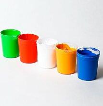 decomonkey | 5 x 50ml Fluoreszierende Schwarzlicht Wandfarbe und für Kunst, Holz, Papier und Wohnraum | Neon Leuchtfarben mit Glow-Effekt | Fluoreszierende Farbe | Komplettes Set 5 x 50ml