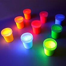 decomonkey | 9 x 25ml Fluoreszierende Schwarzlicht Wandfarbe und für Kunst, Holz, Papier und Wohnraum | Neon Leuchtfarben mit Glow-Effekt | Fluoreszierende Farbe | Komplettes Set 9 x 25ml