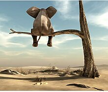 decomonkey Fototapete für Kinder Elefant 150x105
