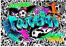 decomonkey Fototapete Graffiti Fußball 350x256 cm