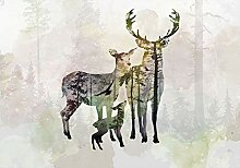 decomonkey Fototapete Hirsch Tiere 150x105 cm