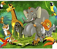 decomonkey Fototapete Kinderzimmer Tiere 250x175