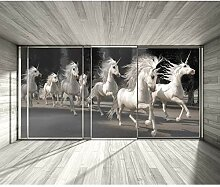 decomonkey Fototapete Pferde Fenster 300x210 cm XL