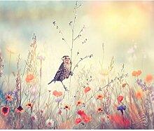 decomonkey Fototapete selbstklebend Blumen Vogel