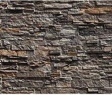 decomonkey Fototapete Steinwand Steine 250x175 cm
