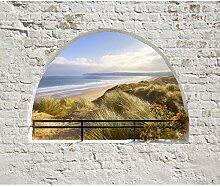 decomonkey Fototapete Strad und Meer Steinwand