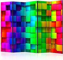 decomonkey   Paravent Beidseitig XXL   Raumteiler 225x172 cm – 5 Teilig   Trennwand   Design Foto-Paravent   Vlies Leinwand   Raumtrenner Sichtschutz spanische Wand Blickdicht Textile Haptik   Bunt Modern