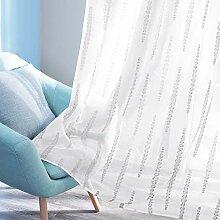 Deconovo Gardinen für Schlafzimmer, gestreift,