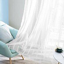Deconovo Gardinen für Wohnzimmer, gestreift,