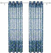 Deconovo Gardinen mit Ösen Leinen Optik Transparent Voile 245x140 cm Luftblase Blau 2er Se