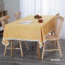 Deconovo Quaste Tischdecke aus Leinen