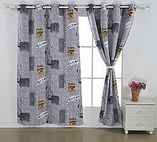 Deconovo Thermo-Vorhang mit Digitaldruck, Grau und