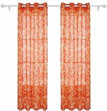 Deconovo Vorhangschal Transparent Leinen Optik gardinen mit Ösen 245x140 cm Luftblase Orange 2er Se
