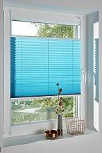 DecoProfi PLISSEE wasserblau / türkis, verspannt, Breite 110cm x 130cm (max. Gesamthöhe Fensterflügel), mit Klemmträger / Klemmfix / ohne Bohren