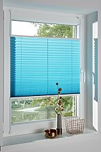 DecoProfi PLISSEE wasserblau / türkis, verspannt, Breite 80cm x 220cm (max. Gesamthöhe Fensterflügel), mit Klemmträger / Klemmfix / ohne Bohren