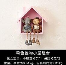 Decoratee amerikanischen Kleines Haus Wandregal Wand Wand Wand Dekoration kreative Clothing Store Zimmer Deko Anhänger, ein Paar rosa Haus Hanging Doll