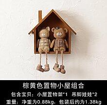 Decoratee amerikanischen Kleines Haus Wandregal Wand Wand Wand Dekoration kreative Clothing Store Zimmer Deko Anhänger, Gelb Braun Cottage Puppe zu Fuß