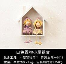 Decoratee amerikanischen Kleines Haus Wandregal Wand Wand Wand Dekoration kreative Clothing Store Zimmer Deko Anhänger, weiße Hütte Zwiebel Mädchen ein Paar
