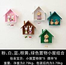 Decoratee amerikanischen Kleines Haus Wandregal Wand Wand Wand Dekoration kreative Clothing Store Zimmer Deko Anhänger, Rosa Weiß Blau Grün Braun Haus Kombination